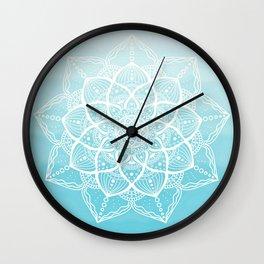Blue white mandala Wall Clock
