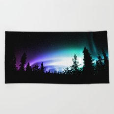Aurora Borealis Forest Beach Towel