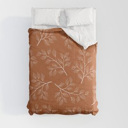 Delicate White Leaves and Branch on a Rust Orange Background Comforters