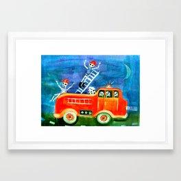 Day of the Dead Firemen Framed Art Print