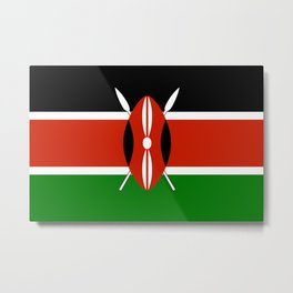 National flag of Kenya - Authentic version, to scale and color Metal Print