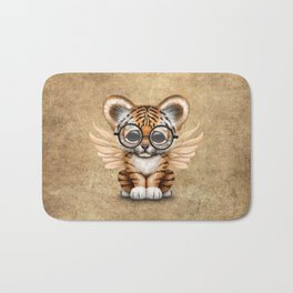 Tiger Cub with Fairy Wings Wearing Glasses Bath Mat