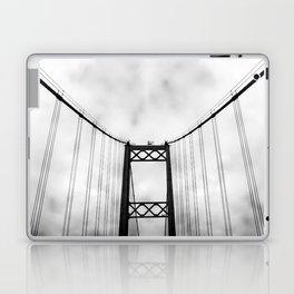 Vintage Monochromatic Black and White Bridge with Clouds Fine Art Print Laptop & iPad Skin