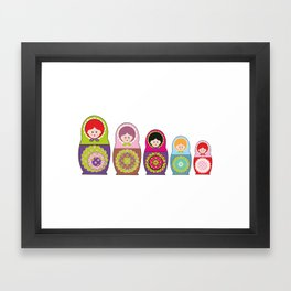 Kawaii Russian dolls Framed Art Print