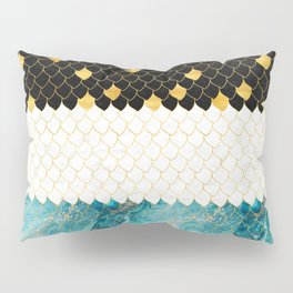 Black, white, gold and blue marble scales pattern Pillow Sham