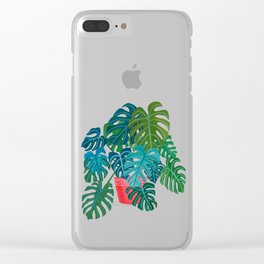 Split Leaf Philodendron Houseplant Painting Clear iPhone Case