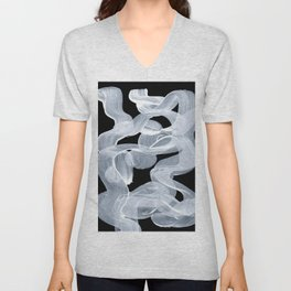 Ghostly Smoke Organic Brush Strokes Black Background Magical Ghostly Pattern Unisex V-Neck
