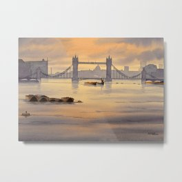 Tower Bridge and St Paul's Cathedral London Metal Print
