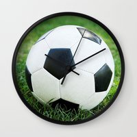 soccer Wall Clocks featuring Soccer Ball by Eye Shutter to Think Photography