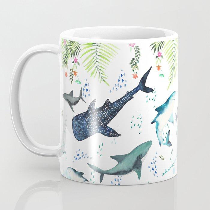 floral shark pattern Kaffeebecher