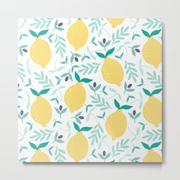 Lemon & Blueberry Pastel Metal Print