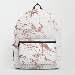 Modern chic faux rose gold white marble pattern Backpack