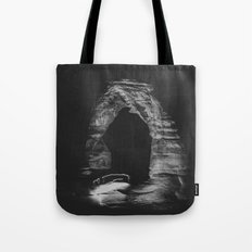 Night Sky Stars - Black and White Delicate Arch at Arches National Park Utah Tote Bag