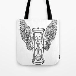 Winged hourglass, skull art, custom gift design Tote Bag