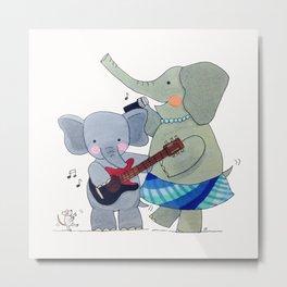 La familia elefante Metal Print