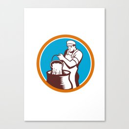 Cheesemaker Pouring Bucket Curd Circle Woodcut Canvas Print