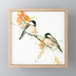 Chickadees and Orange Flowers Framed Mini Art Print