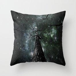 Wintry Trees Galaxy Skies Dark Green Slate Blue Throw Pillow