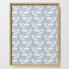 Hand drawn vector cloud illustration. Seamless repeating pattern Serving Tray