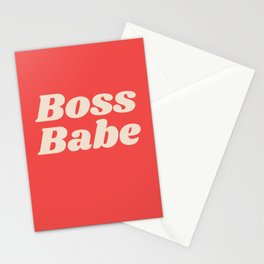 Retro Boss Babe - Coral Stationery Cards