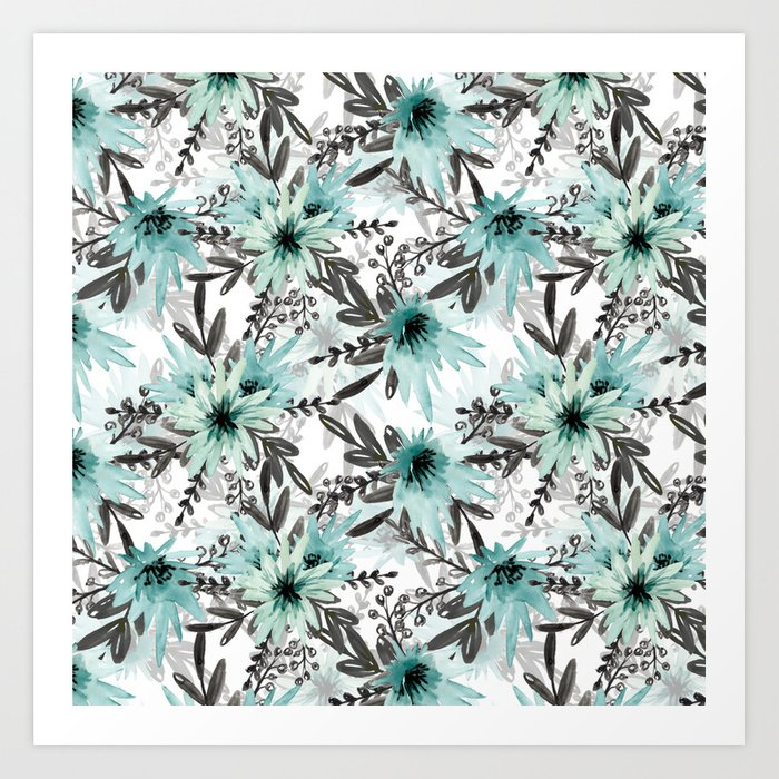 Blue asters Art Print