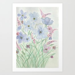 Lavender and Blue Watercolor Wildflowers Art Print