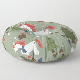 Christmas Winter Unicorn Pattern Floor Pillow