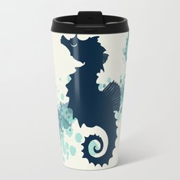 """Seahorse Silhouette"" ` digital illustration by Amber Marine, (Copyright 2015) Travel Mug"