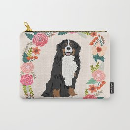 bernese mountain dog floral wreath dog gifts pet portraits Carry-All Pouch