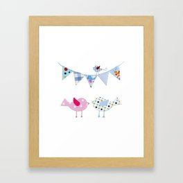 Birds with party flags Framed Art Print