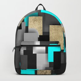 Geometrical black gold teal abstract pattern Backpack