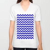 chevron V-neck T-shirts featuring Chevron (Blue/White) by 10813 Apparel
