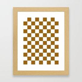 Checkered - White and Golden Brown Framed Art Print