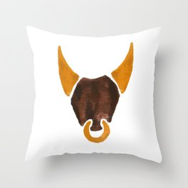 BULL HEAD ILLUSTRATION / SINGLE - SUMMER 2017 Throw Pillow