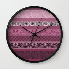 Pink raspberry patchwork 15 Wall Clock