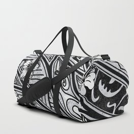 Vintage Hawaiian Tribal Floral Tattoo Tapa Print Duffle Bag