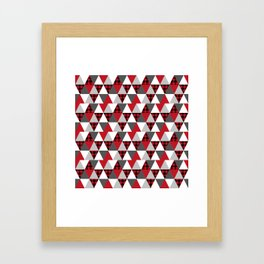 Quilt pattern buffalo check pattern red black and white with grey minimal camping Framed Art Print