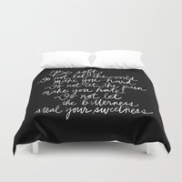 vonnegut Duvet Covers featuring Be Soft by Raphaella Martelino
