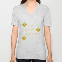 Ask believe receive beige tan marble and gold squares abstract typography design Unisex V-Neck