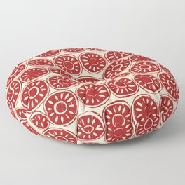flower block red ivory Floor Pillow