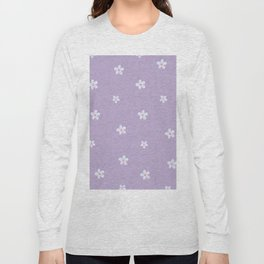 Modern lavender teal pink hand painted floral Long Sleeve T-shirt