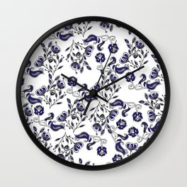 Hand painted navy blue white watercolor chic floral Wall Clock