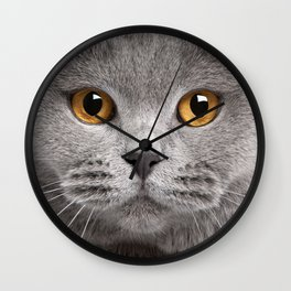 Cat in Grey Wall Clock