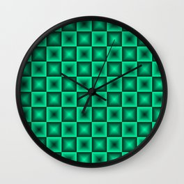 Chess tile of blue rhombs and black strict triangles. Wall Clock