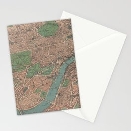 Vintage Pictorial Map of London England (1910) Stationery Cards