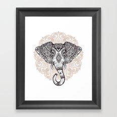 Elephant on Mandala Framed Art Print