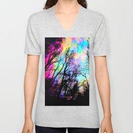 Black Trees Colorful space. Unisex V-Neck