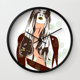 Sultry Disposition, Fashion Illustration Earth Tones Wall Clock