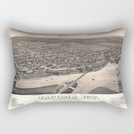 Aerial View of Tacoma, Washington (1884) Rectangular Pillow