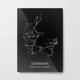 Denmark Road Map  Metal Print